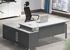 钢架实木办公桌