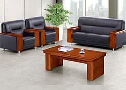 真皮实木办公沙发
