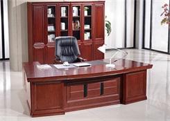 实木贴皮油漆钢架老板桌