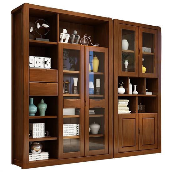 养老中心展示柜实木 养老机构适老展示柜中式