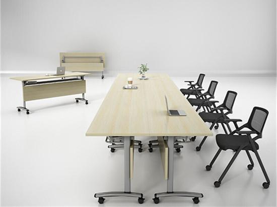 酒店折叠培训桌讨论桌 酒店培训桌翻转会议桌