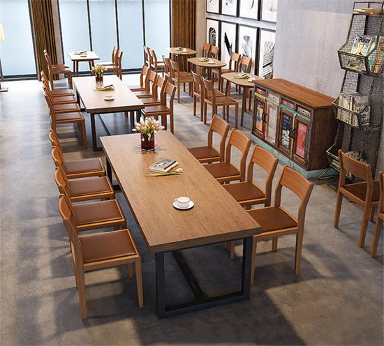 酒店餐厅咖啡厅桌椅组合 酒店实木餐厅桌椅