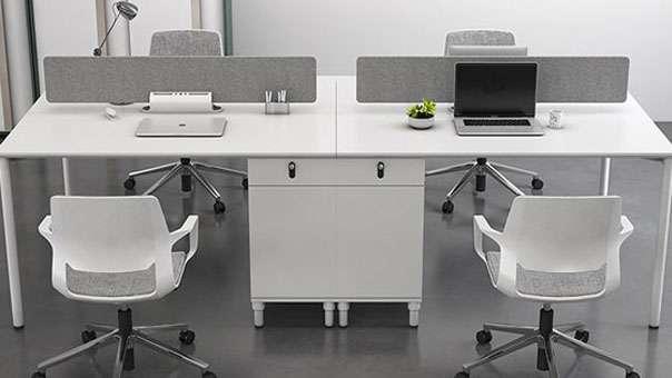 白色隔断办公桌 白色屏风工作位