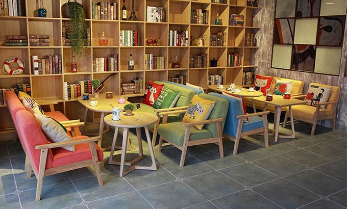 書店休閑桌椅-書店咖啡廳桌椅
