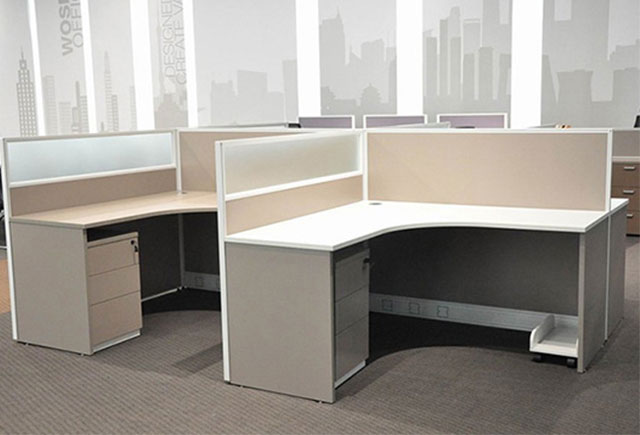 l型屏风隔断办公桌-四人位l型屏风隔断办公桌