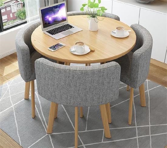 图书馆休闲桌椅圆形 图书室休闲书桌休闲椅