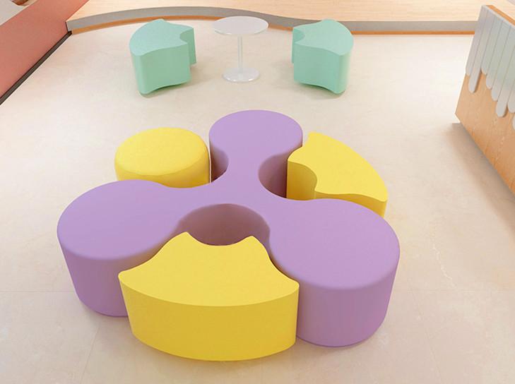 图书馆阅览室软包沙发凳 图书馆阅读沙发凳圆形