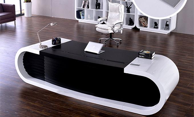 白色时尚办公桌-现代白色时尚办公桌
