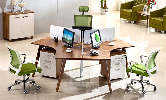 三人办公桌-圆形三人办公桌-三人坐办公桌
