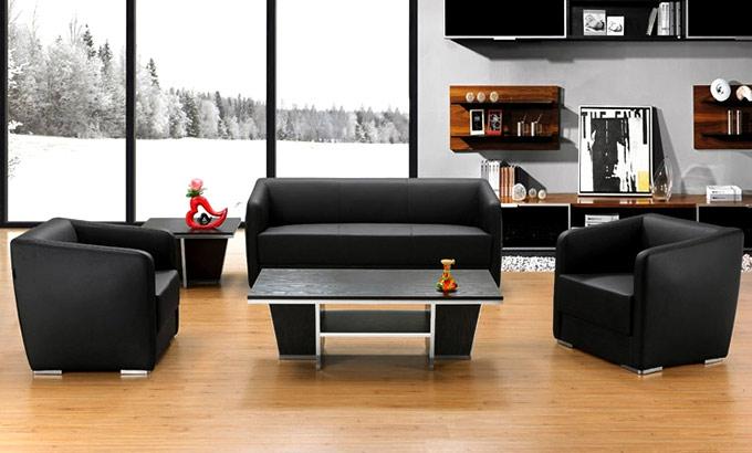 办公室黑沙发-办公室黑皮三人沙发