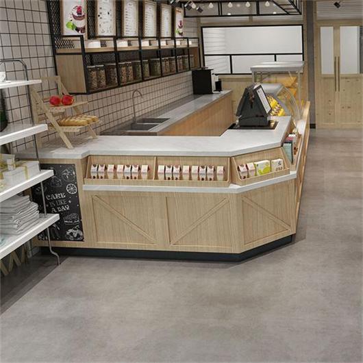 面包店烘焙店收银台前台 蛋糕店收银台点餐台带货品架