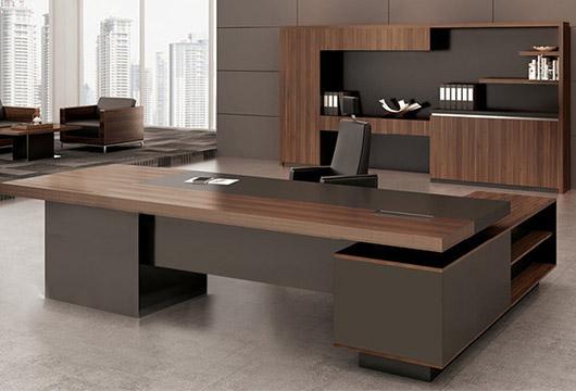 豪华总经理大班台 实木贴皮总裁老板桌