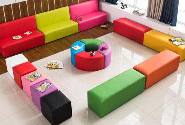 幼兒園軟包長條沙發_幼兒園軟包沙發凳-上海品源學校家具