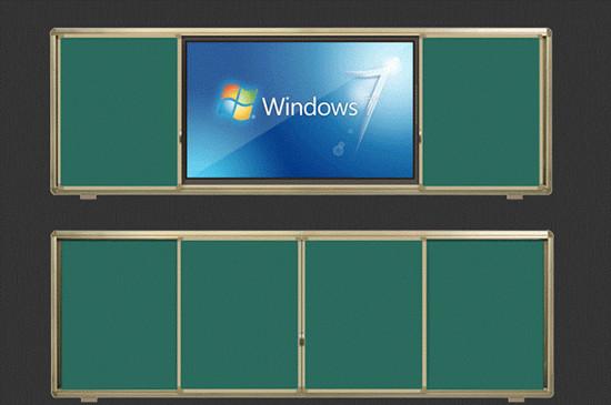 多媒体教室黑板推拉 互动黑板镶嵌一体机