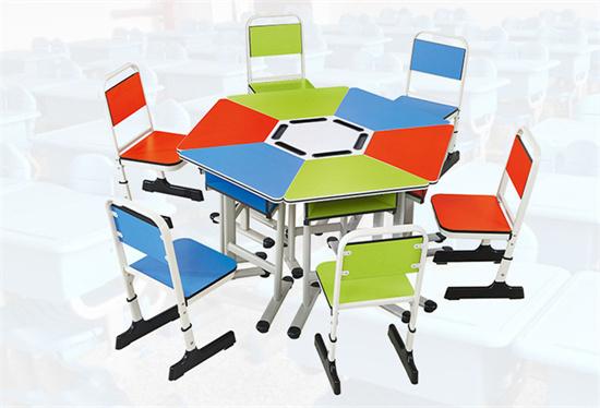 六边形互动交流桌椅 学生小组互动桌椅学习桌