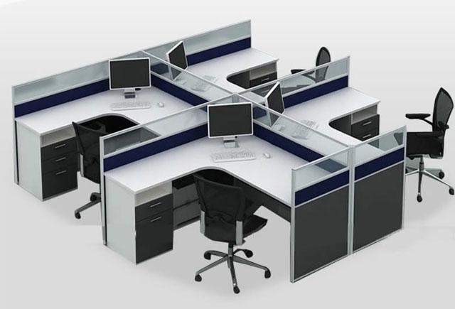 6人办公隔断-6人位屏风办公桌-员工桌隔断