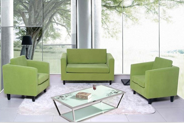 上海沙发采购定制 绿色布艺组合沙发