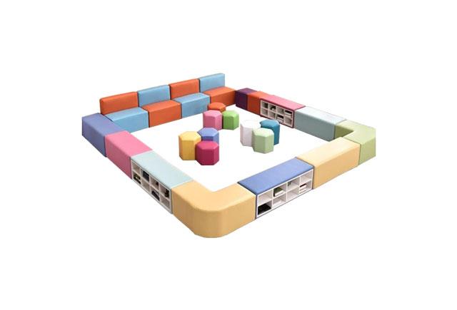 儿童长条沙发换鞋柜—儿童沙发式鞋柜—幼儿园