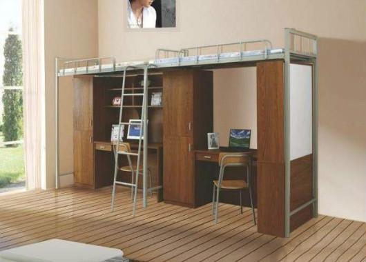 学校宿舍上床下桌 实木高架床 WX
