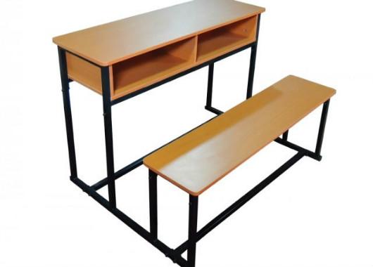 双人学生课桌椅 木制学生桌椅 教