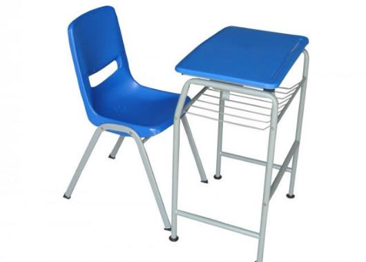 塑料培训课桌椅 蓝色带斗学生桌椅 KZY150911