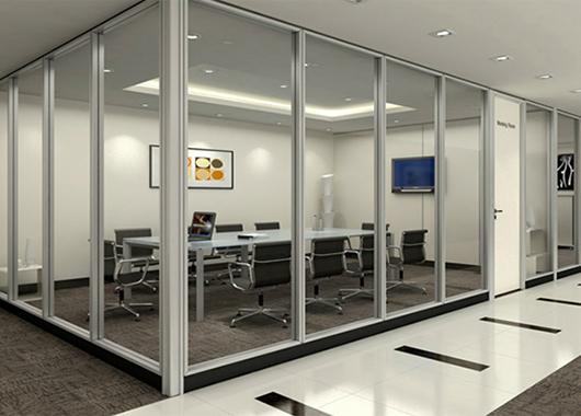 铝合金透明玻璃隔断-办公室透明