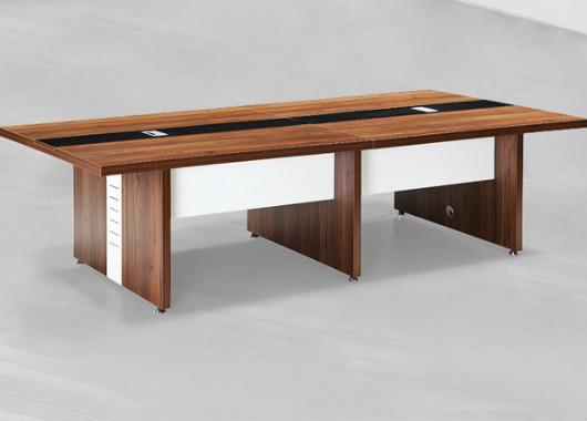 实木贴皮会议桌 长方形带线盒会议桌 SHYZ020