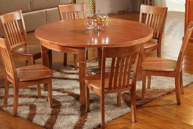 上海圆形饭店餐桌 木质餐桌椅组