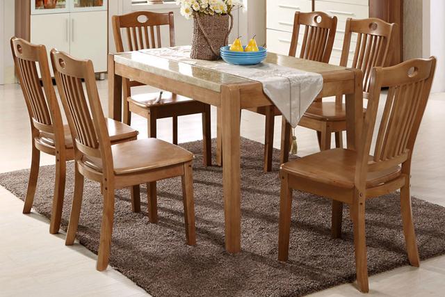 一桌六椅实木饭桌 上海餐厅家具组合 WCZY012