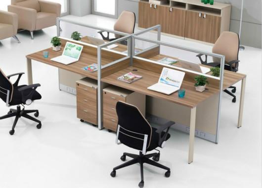 四人位玻璃屏风隔断办公桌-办公桌屏风隔断