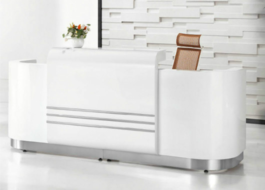 烤漆公司前台定制 白色公司前台定制 长方形公司前台定制 WQT016