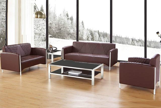 休闲办公沙发组合 真皮接待沙发 办公大厅沙发 WSF045