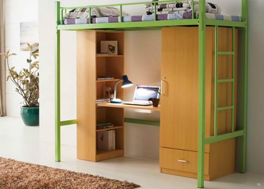 简约现代房间高架床 单人上床下