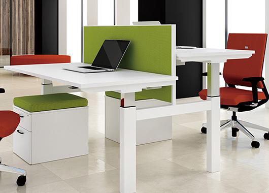 双人位屏风办公桌 可升降屏风办