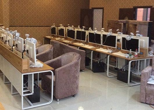 上海网吧桌椅定制 网吧联排电脑桌椅 DNZ110601