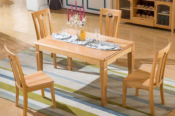 木色四人位方桌 配套餐厅桌椅 CT