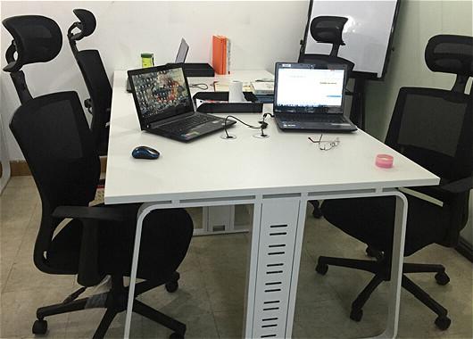 办公桌圆钢架 4人位-四人位圆钢架办公桌