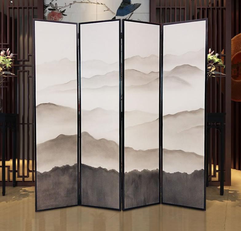 中式手绘山水屏风隔断 办公屏风
