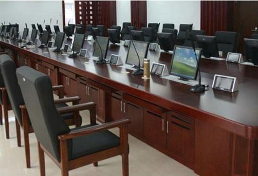 实木木皮大型多功能智能升降器显示器会议桌 长桌 洽谈桌 2017新品 HYZZN17041302