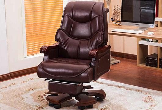 家用可躺头层牛皮真皮转椅 老板