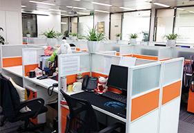 400电话客服办公桌,电话销售办公屏风定制案例