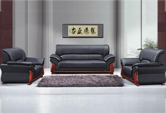 现代简约商务沙发 黑色真皮办公