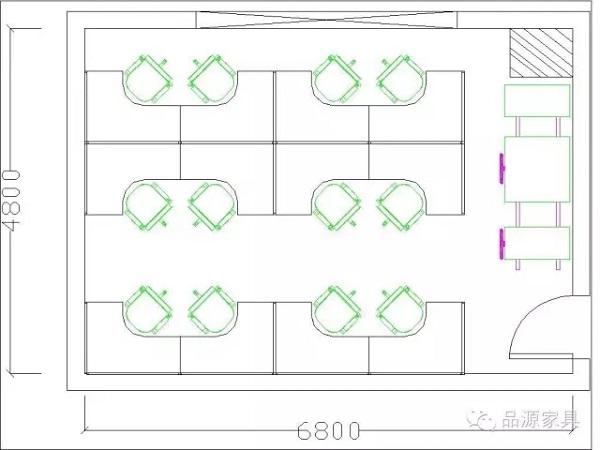 50平米办公室CAD图-品源办公家具