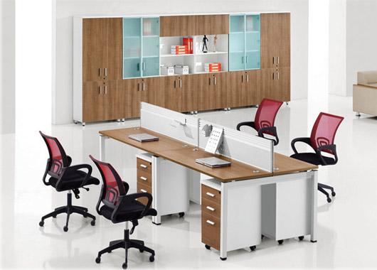 办公桌4人位-办公室四人位办公桌定制-办公桌4人位样式