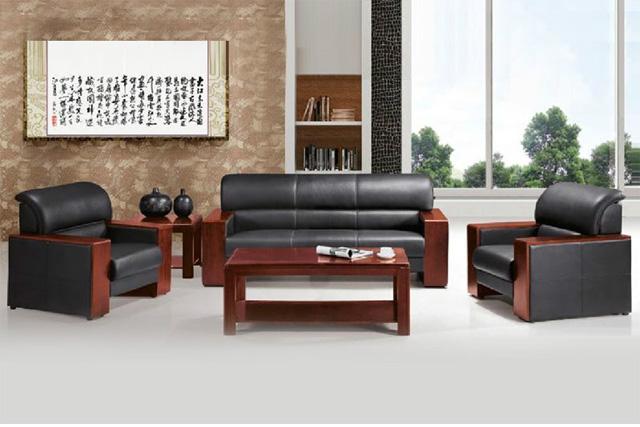 实木框架沙发 黑色真皮沙发 总裁