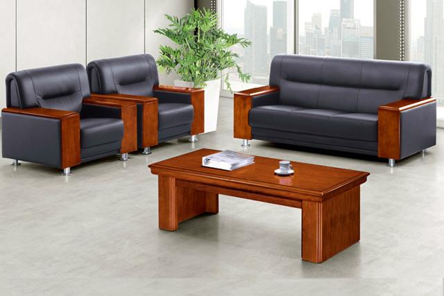 真皮办公沙发 实木会客区沙发 办
