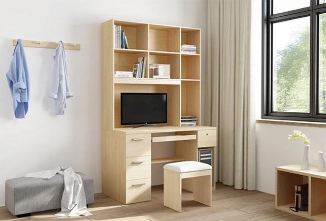 书柜书桌一体-电脑桌带书架定做