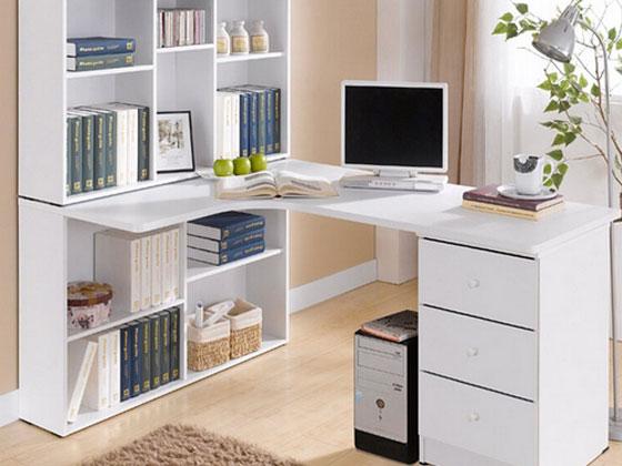书柜与电脑办公桌一体的办公桌组合案例赏析