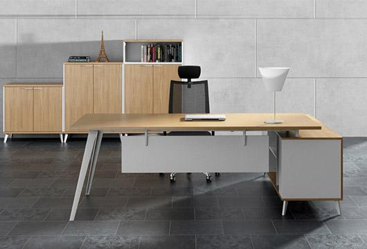 现代老板办公桌 钢木结合