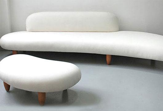 办公休闲区弧形沙发设计